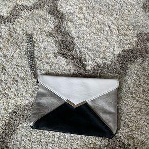 EXPRESS Silver Black White Envelope Clutch